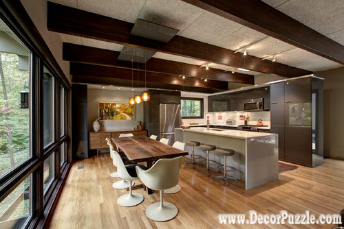 mid century modern kitchen, modern kitchen ceiling designs with beams