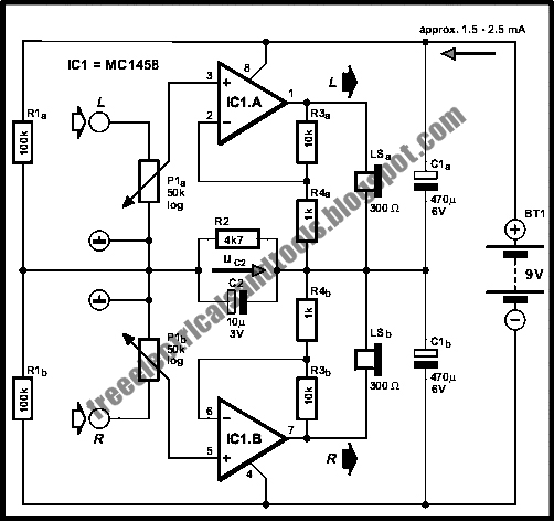voltage divider virtual earth circuit