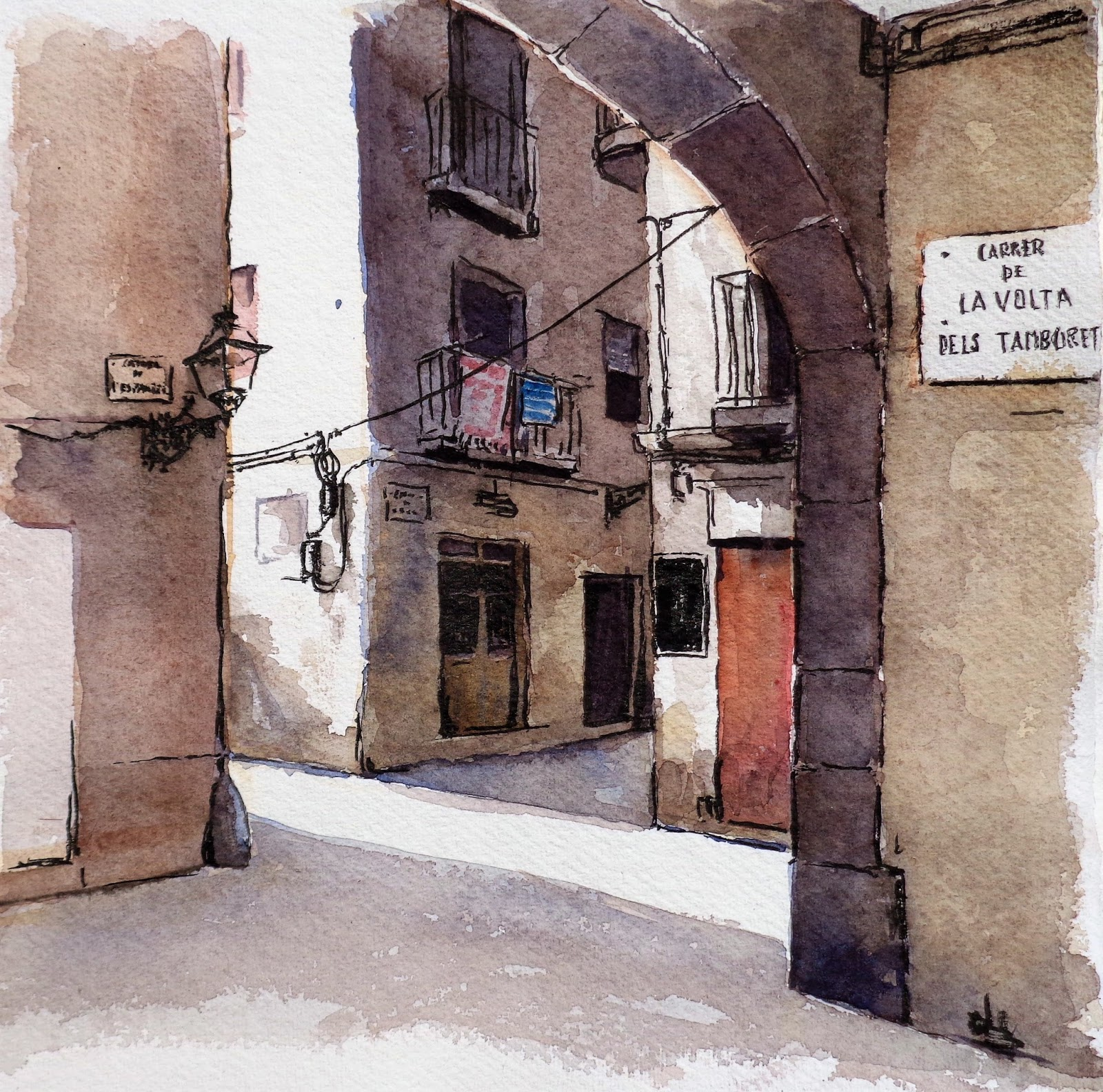 Joshemari larra aga acuarelas cuatro callejuelas en casco - Casco antiguo de barcelona ...