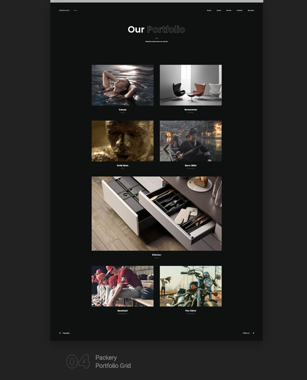 Grenada  Creative Ajax Portfolio Showcase Slider Theme