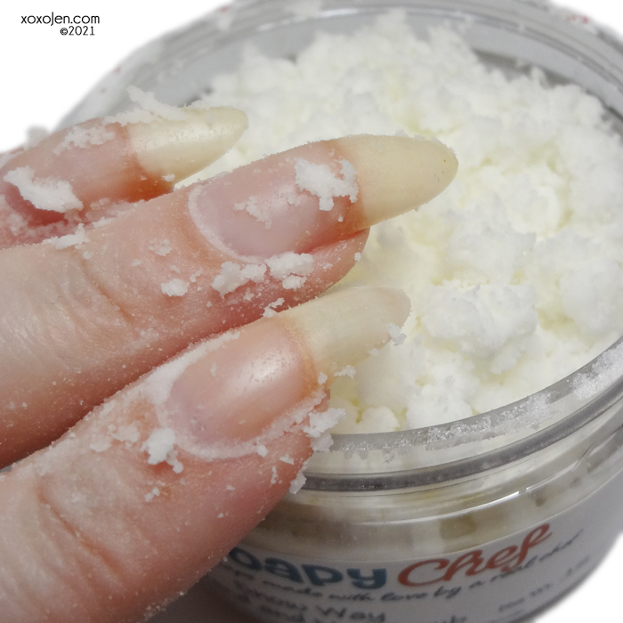 xoxoJen's swatch of The Soapy Chef Snow Way hand and nail scrub