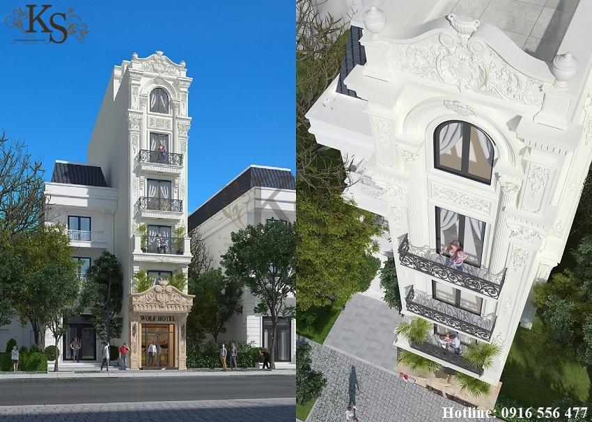 Hình ảnh: Phối cảnh thiết kế khách sạn mini kiểu Pháp tại Hà Nội đẹp trong mọi góc nhìn