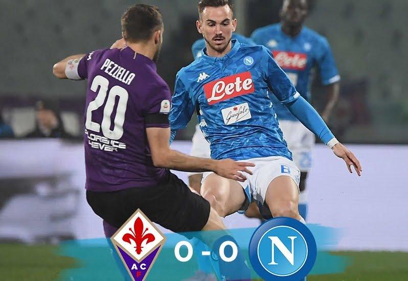 Fiorentina-Napoli è terminata senza gol: partenopei a -8 dalla Juventus in classifica.