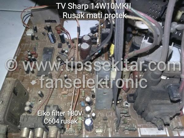 mengatasi tv sharp 14w10 rusak mati protek