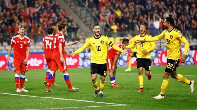 Kualifikasi Piala Eropa: Hazard Dua Gol, Belgia Bungkam Rusia 3-1