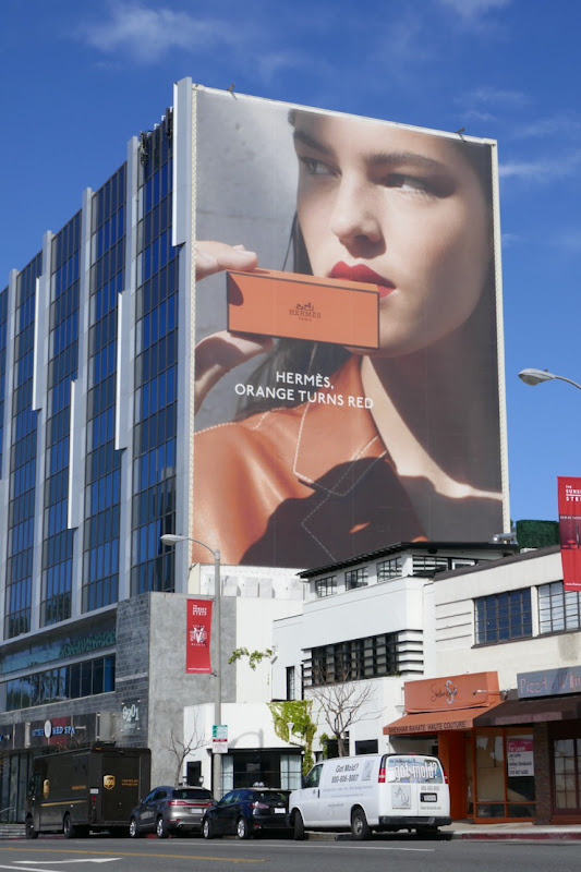 Hermès Beauty Orange turns red billboard