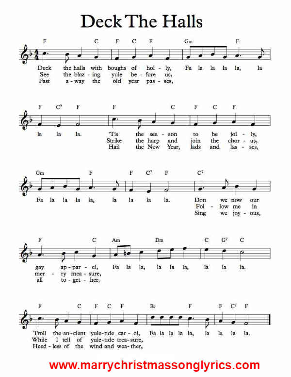 Deck the Halls Song Sheet Music