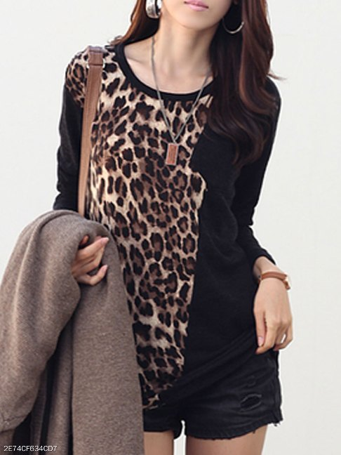 Autumn Spring Polyester Women Round Neck Patchwork Leopard Long Sleeve T-Shirts - FashionMia Special Price: US$ 13.95