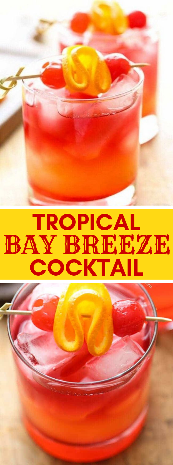 Tropical Bay Breeze Cocktail #drink #cocktails