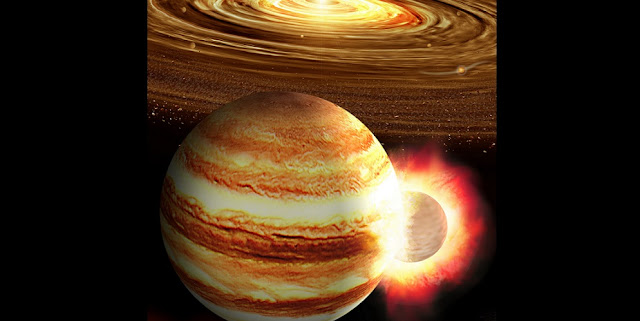 An artist's impression of a collision between a young Jupiter and a massive still-forming protoplanet in the early solar system. Illustration by K. Suda & Y. Akimoto/Mabuchi Design Office, courtesy of Astrobiology Center, Japan