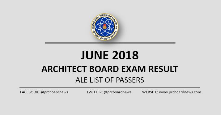 OFFICIAL RESULT: June 2018 Architect board exam ALE passers list