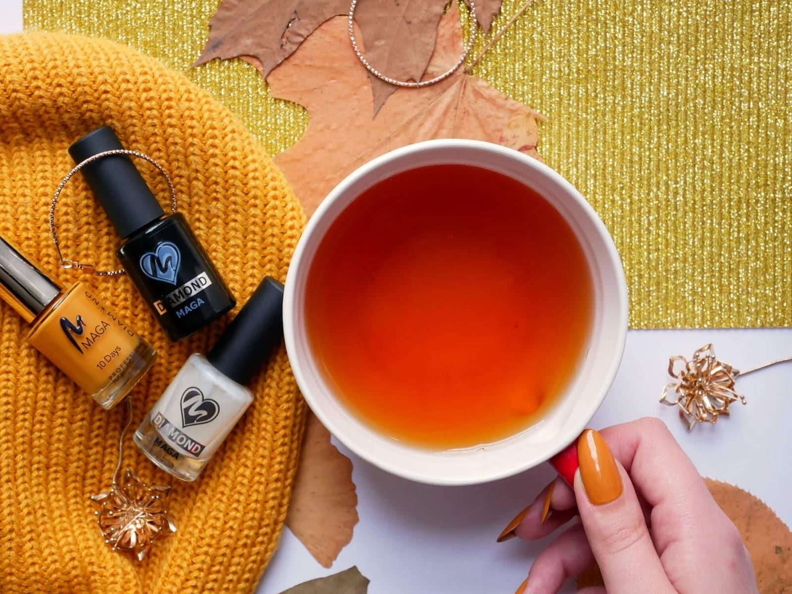 jesienna herbata flatlay