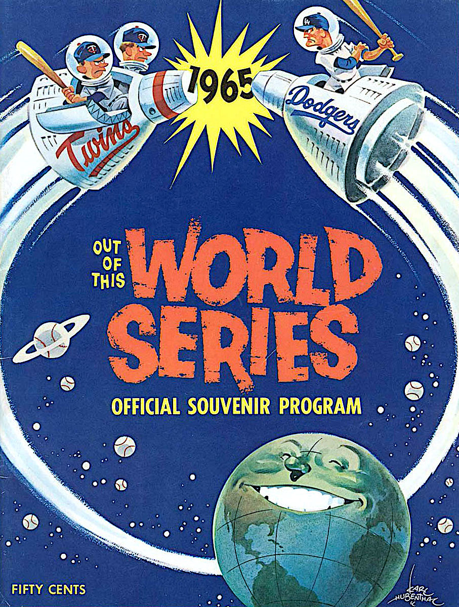 a Karl Hubenthal illustration for the 1965 baseball World Series official souvenir program, showing a smiling Earth with competing teams in space capsules