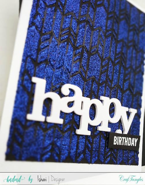 Craftangles herringbone stencil, Stenciled Birthday card, Craftangles glimmer paste, Craftangles stencils cards, cards with stencil, cards with shimmer paste, stenciled card, birthday card with stencil, quillish