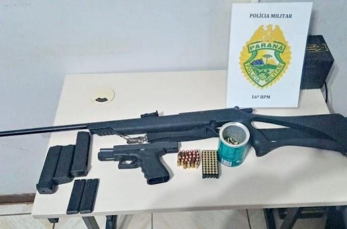 Presos em Pitanga com fuzil e pistola tinham destino para Palmital