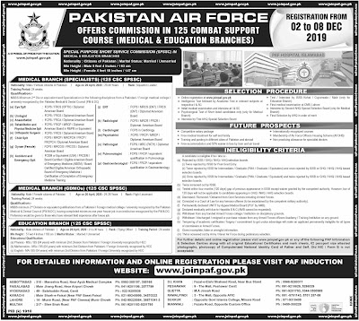 Latest Join Pakistan Air Force PAF Medical & Education Branches 2019 Apply Online