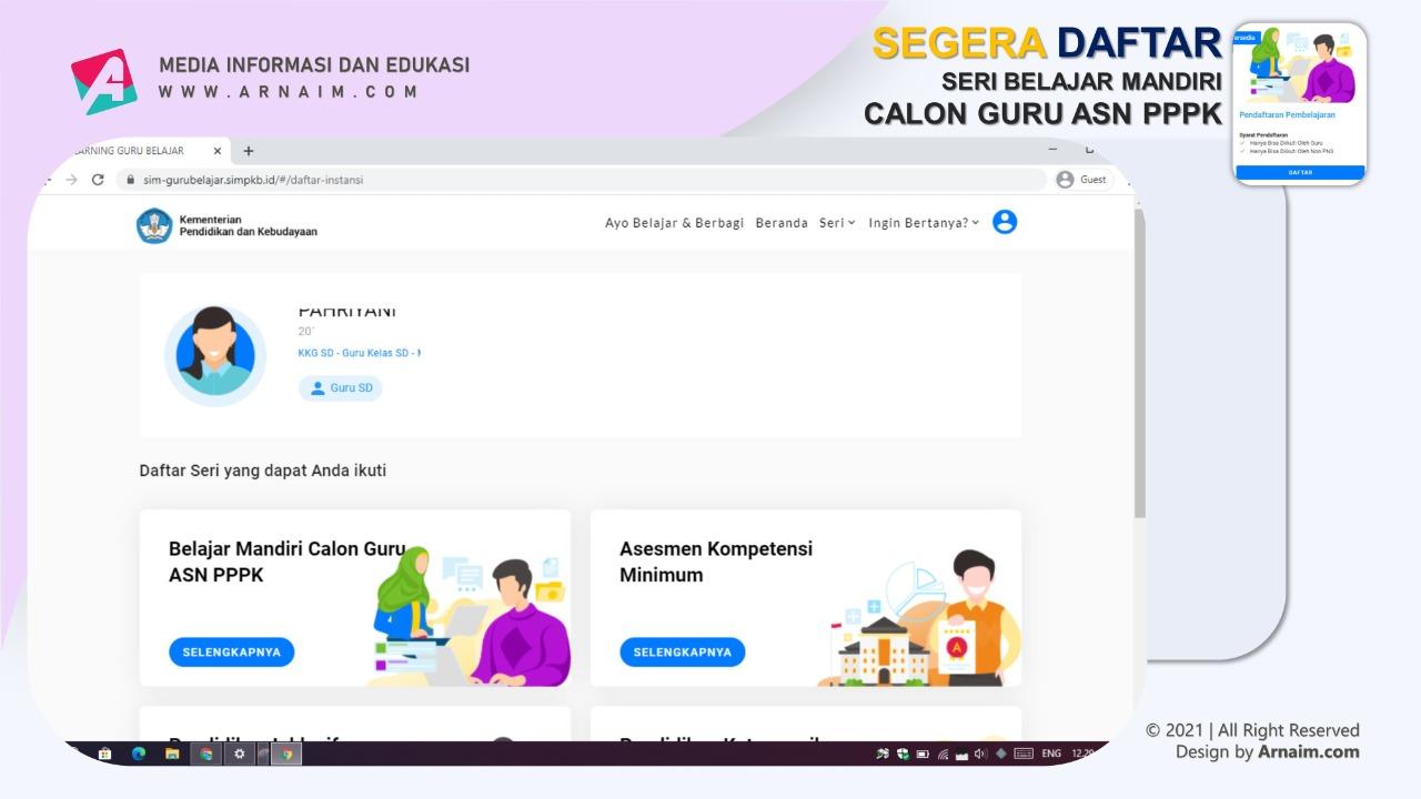 ARNAIM.COM - Segera Daftar Belajar Mandiri Calon Guru ASN PPPK - Dasbord