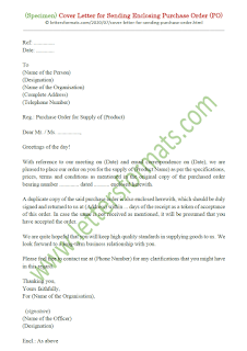sample letter for sending purchase order