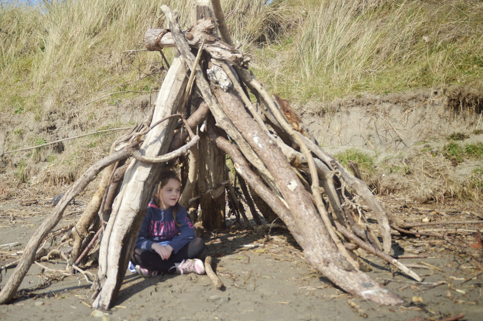 Newport Sands, Pembrokeshire, Wales, UK, Travel, Traeth Mawr, family fun, driftwood den