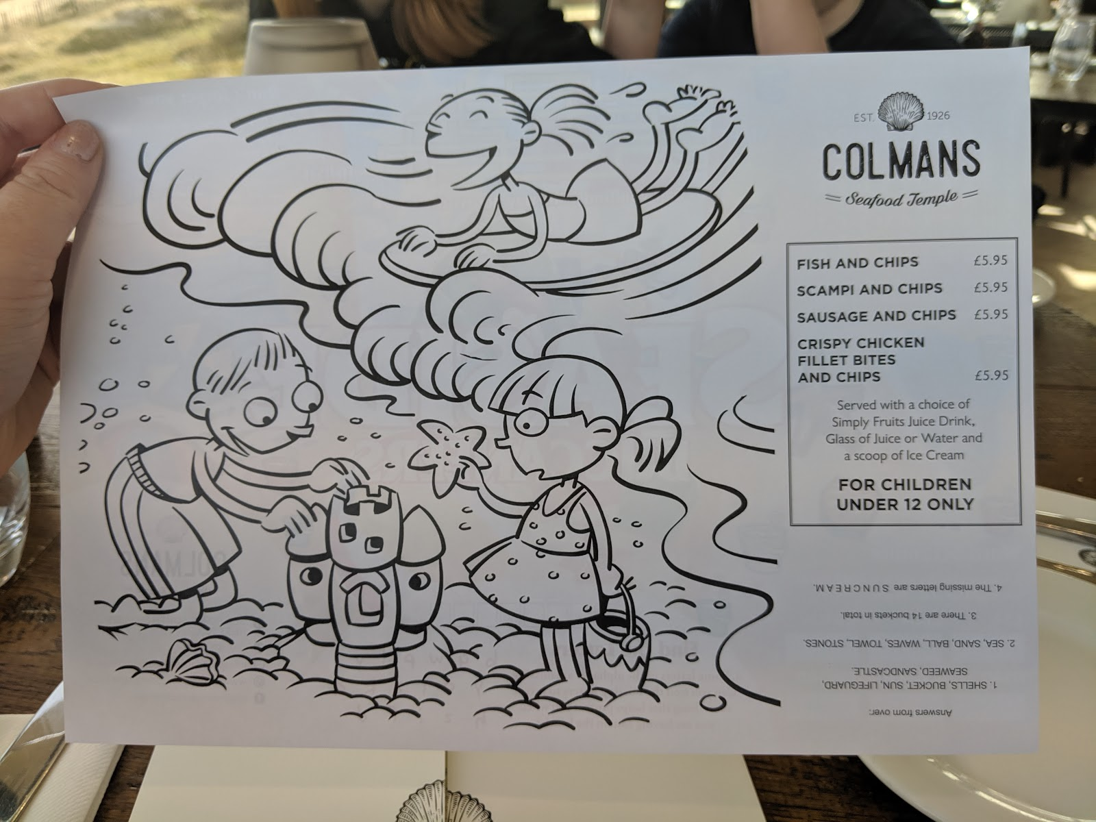 Fish & Chips from Colmans Seafood Temple : A Review - kids menu