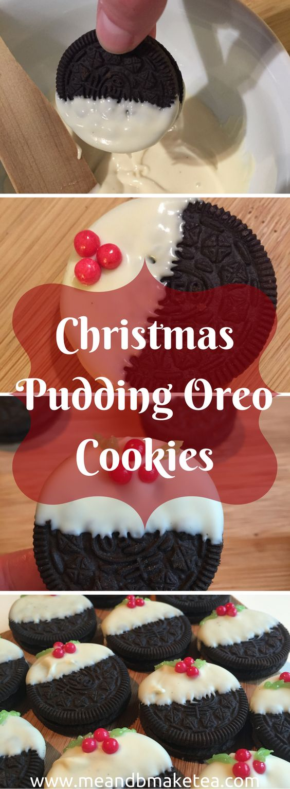 10 Minute No-Bake Christmas Pudding Oreo Cookies!