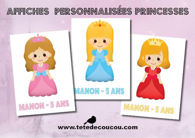 Affiches A4 Kit anniversaire personnalisé princesse fille rose à imprimer tête de coucou