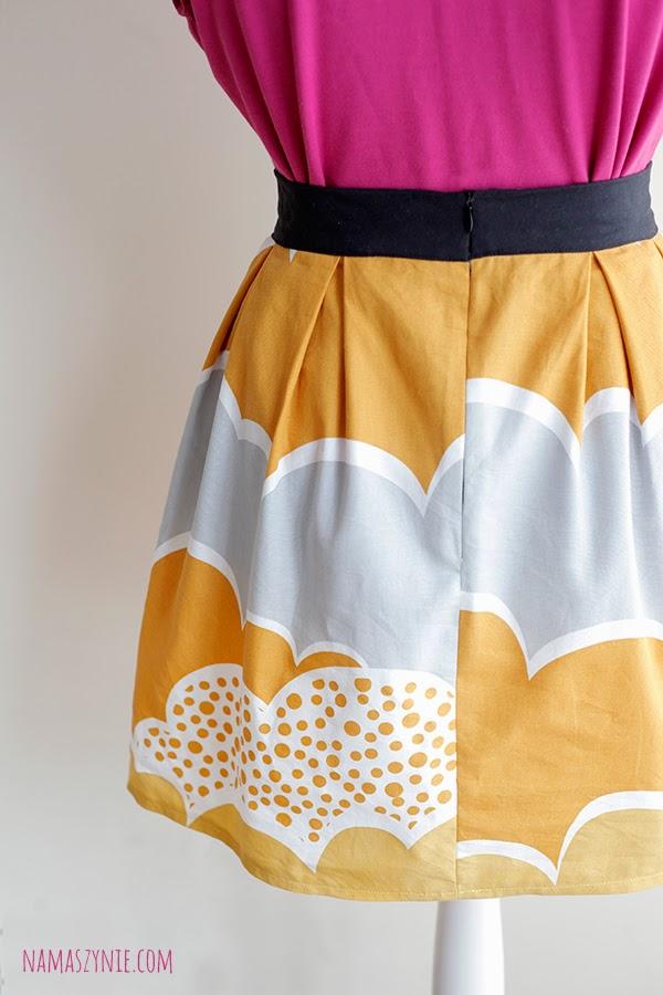 Spódnice, spódnica, kontrafałdy, jesienna, brudna żółć,