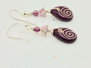 Purple and Pink Earrings by BayMoonDesign