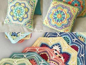 Almohadas al crochet. Patrón de Mándala octogonal.