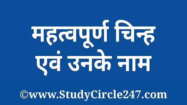 गणित, विज्ञान तथा अन्य विषयों में प्रयुक्त होने वाले महत्वपूर्ण चिन्ह एवं उनके नाम।