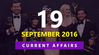 Current Affairs 19 September 2016