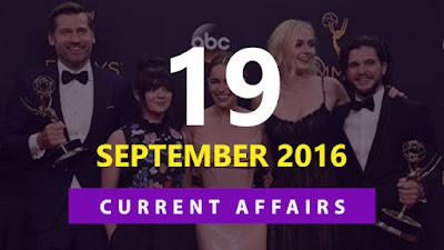 Current Affairs 19 September 2016