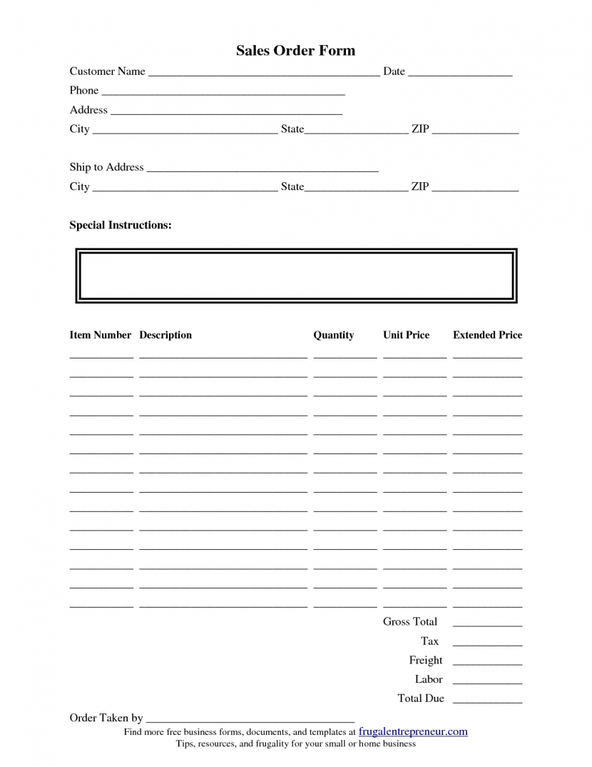 Captivating Order Form Template In Design Printable