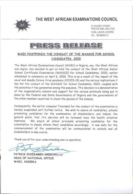 WAEC Postpones 2020 WASSCE for School Candidates Examinations