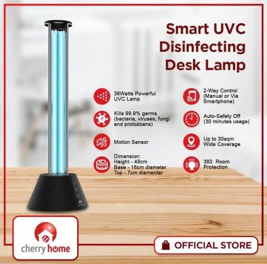 Have a Clean Work Area at Home with the Cherry Smart UVC Disinfecting Desk Lamp; Available For Php2,999