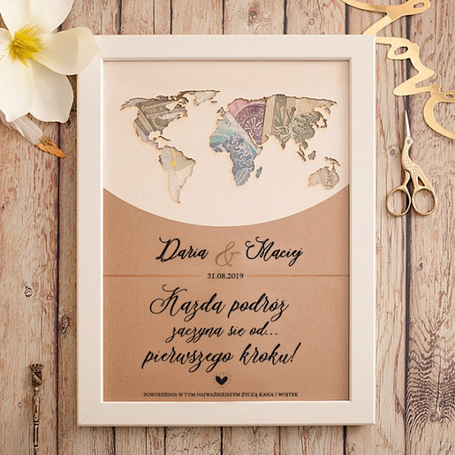 PREZENT Mapa świata personalizowana na pieniądze dla Młodej Pary