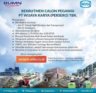 Informasi lowongan kerja terbaru kali ini berasal dari PT Wijaya Karya  Lowongan Kerja PT Wijaya Karya (Persero)