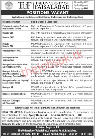 Latest The University of Faisalabad Management Posts 2021