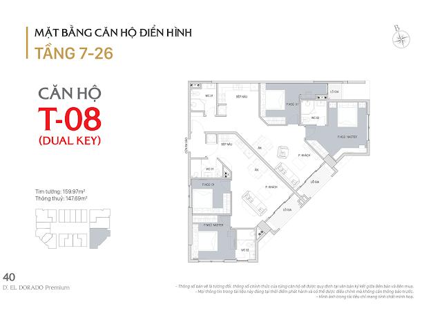 Thiết kế chi tiết căn hộ dual key E1-08 dự án D'el Dorado phú thượng