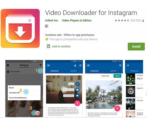 - تطبيق تحميل الفيديوهات من انستجرام  Video downloader for Instagram