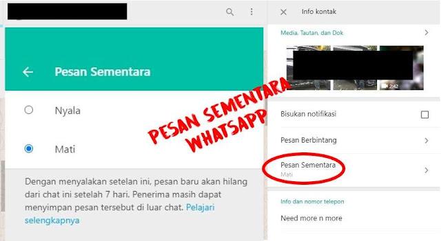 Cara pakai Pesan Sementara WhatsApp