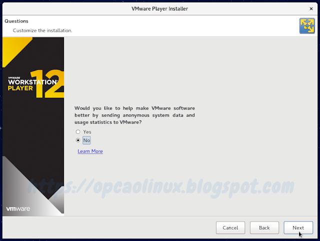 Opção de enviar ou não informações anônimas de uso do software à VMware