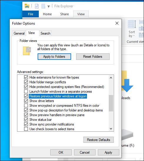 Restore previous folder windows at log-on
