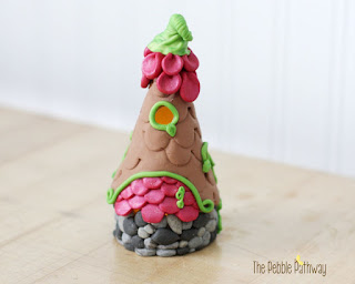 Tall Fairy House with Pink Petal Roof