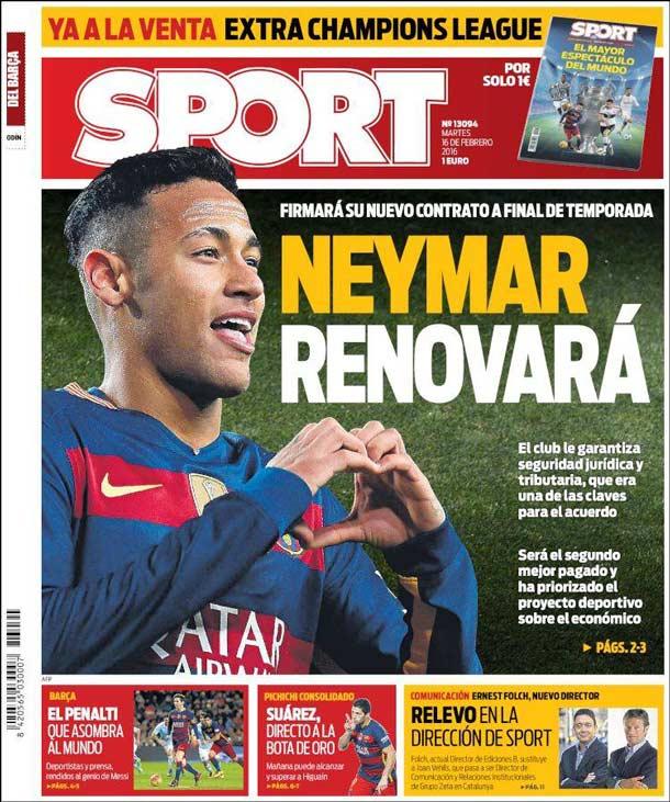 Portada del periódico Sport, martes 16 de febrero de 2016
