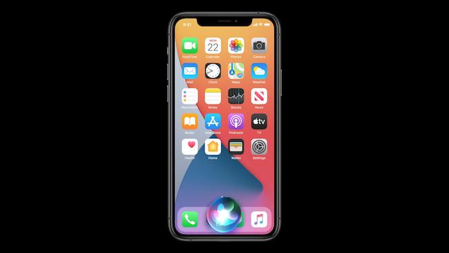 واجهة جديدة Siri iOS 14 على الشاشة