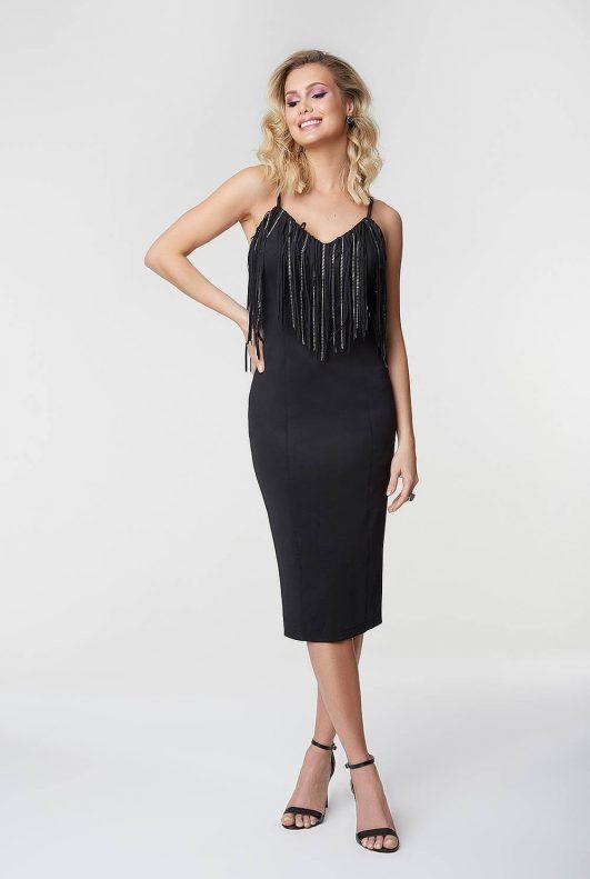 vestido preto midi traje esporte fino feminino