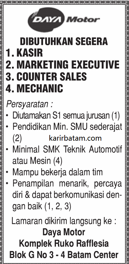 Lowongan Kerja PT. Daya Motor Indonesia