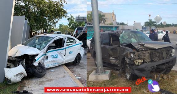 Choque entre taxi y camioneta particular deja saldo de 2 lesionados leves y tráfico denso