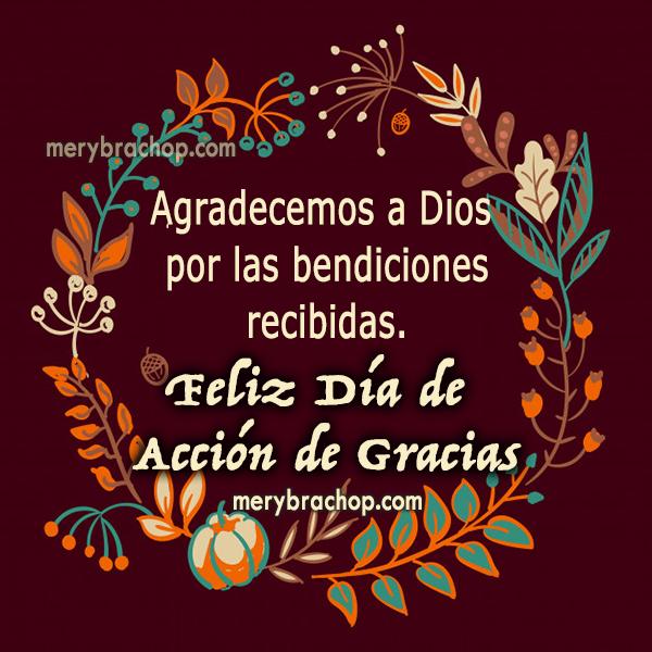 imagen con frases de accion de gracias thanksgiving noviembre mensaje de bendiciones